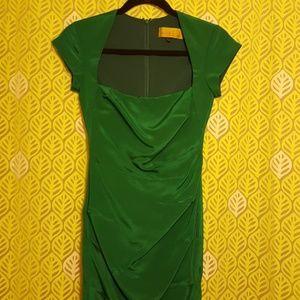 Stunning Green Silk Nicole Miller Cocktail Dress